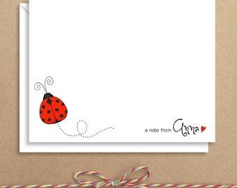 Flat Note Cards - Ladybug Flat Notes - Ladybug Stationery - Ladybug Note Cards - Flat Thank You Cards - Illustrated Note Cards