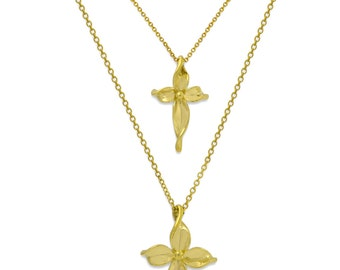 Cross. 18k Gold Olive branch.  Large: 40 x 22 mm Small, 28 x 17 mm
