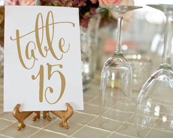 Antique Gold Wedding Table Numbers ⋆ #1-50 Printable Wedding Table Numbers ⋆ Vintage Wedding Decor ⋆ 4x6 Table Number Card ⋆ #KKD105