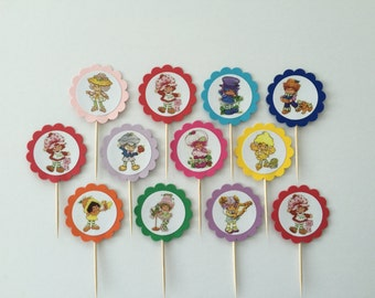 Set of 12 strawberry shortcake cupcake toppers birthday party decoration decor vintage classic retro style food picks cup cake