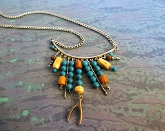 Turquoise and Silver Fringe Necklace