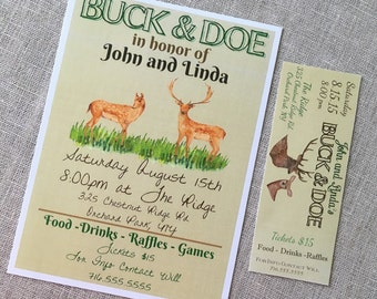 TICKETS- ENTRY- Rustic Buck and Doe, Stag and Doe, Jack and Jill, Watercolor Ticket - Raffle - Entry