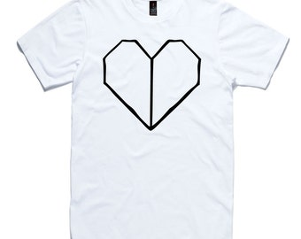 Heart T-Shirt by RockPaperHeart in black or white red origami