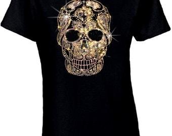 Rhinestone Sugar Skull Shirt/Gold Aztec Skull/Dia De Los Muertos Sugar Skull Women's Shirt/Day Of The Dead T-Shirt/Tattoo Art Sugar Skull