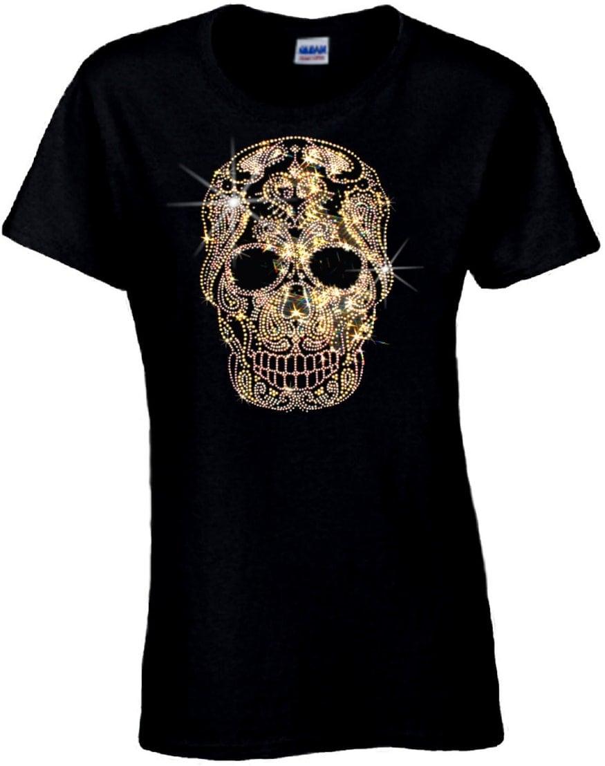 Rhinestone Sugar Skull T-shirt