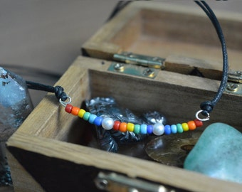 Rainbow Beads And Synthetic Pearl Beaded Choker