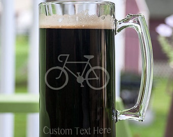 Cyclist Speed Bicycle Customizable Etched Glassware Stein Beer Mug Barware Gift
