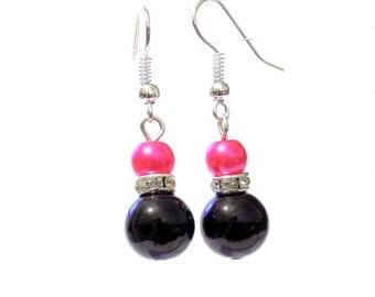 Black and pink pearl earrings, pink pearl earrings, black pearl earrings, pearl earrings, earrings, dangle earrings, drop earrings