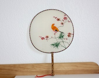 Japanese flat fan hand painted silk, Chinese hand fan, wall home decor