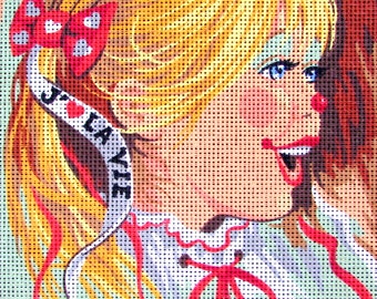 NEEDLEPOINT CANVAS/by Royal Paris/a Vintage Needlepoint /a Young Clown Girl Smiling, /Was 65.00 Dollars) Now!!