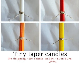 Tiny tapers - for Quistgaard (Dansk Designs) candle holders. Box of 12 new tiny taper candles - handmade by Danish artisan candle maker