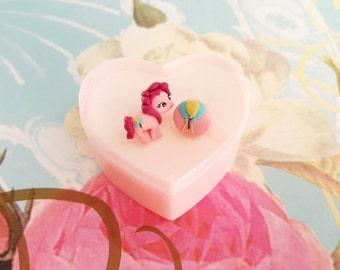 Pinkie Pie stud  earrings. My   little  pony  jewelry. Kawaii pony. Clay Pinkie  Pie.Birthday  gift Pinkie  Pie.