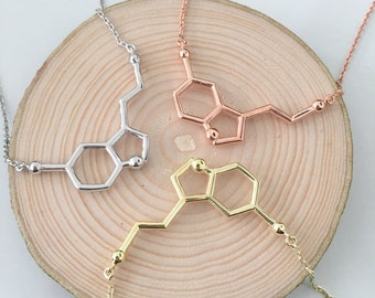 Serotonin Necklace // Silver Molecule Necklace //  Serotonin Molecule Necklace // 14K Gold Filled Serotonin necklace  // Mother's Day Gift