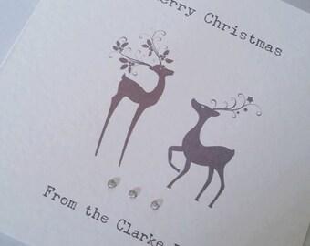 Personalised Reindeer Cards - Pack of 5