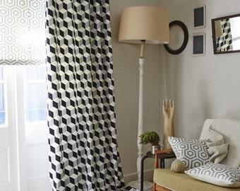 A GROMMET CURTAIN Deco Scandinavian geometric pattern
