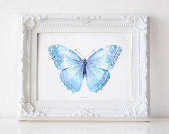 Blue Butterfly art print, Butterfly wall art, Baby blue Nursery art PRINTABLE wall art print, Butterfly decor, Nursery decor Baby room decor