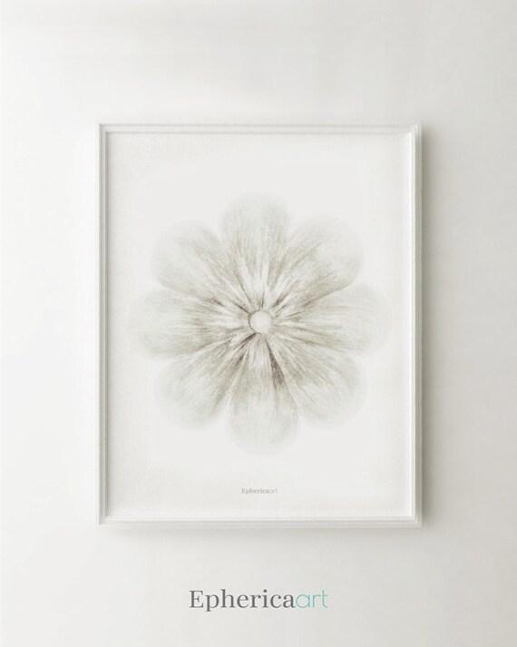 Wall Decor White Flowers : White flower art print home decor wall