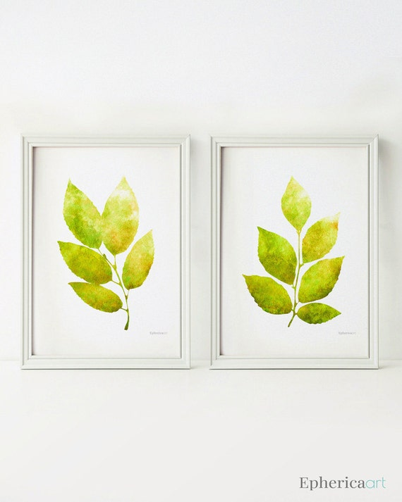 Lime green leaves wall decor digital download 5x7 art prints for Green wall art