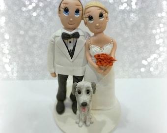 Custom Wedding Cake Topper with Large Dog