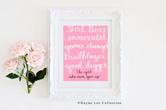 Girl Boss List - 8 x 10 Digital Illustration Quote Art Print