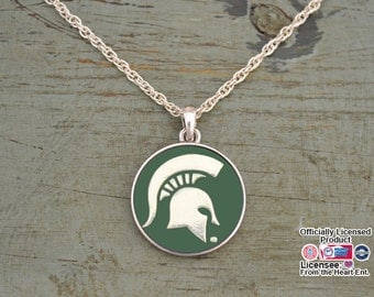 Michigan State Spartans Iridescent Round Necklace