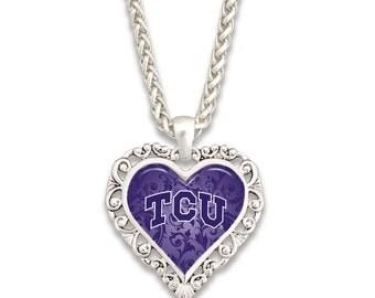 TCU Horned Frogs Ornate Heart Necklace - TCU57440
