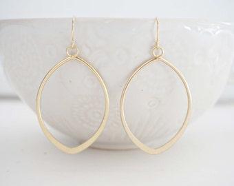 Matte Gold Pendant Earrings