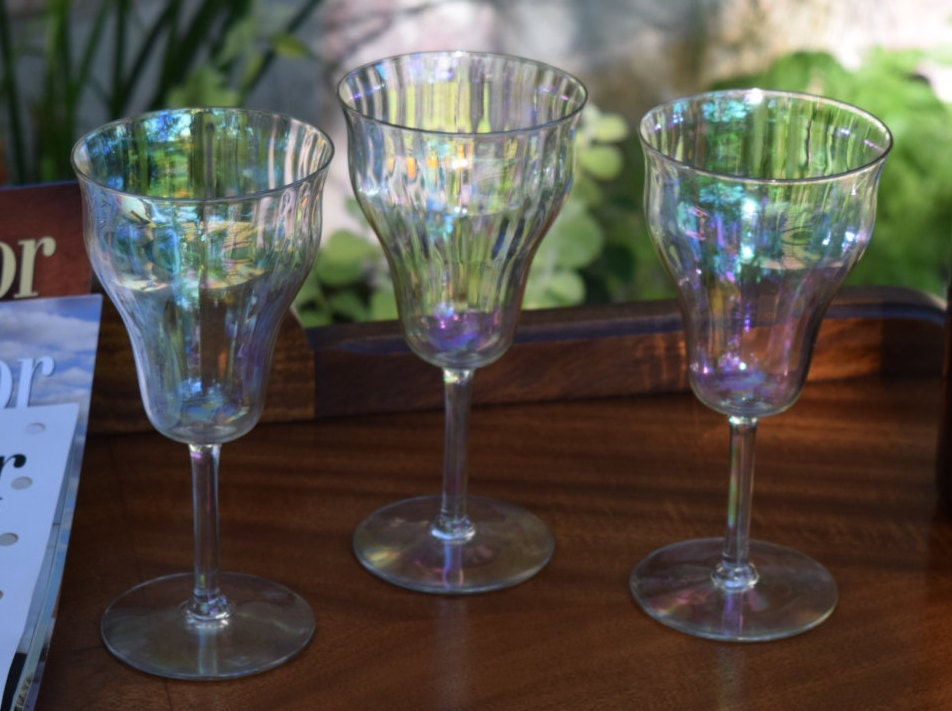 Vintage Iridescent Wine Glasses Set Of 3 Unique Shaped Wine