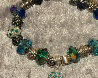 European Style Charm Bracelet in Blues and Greens