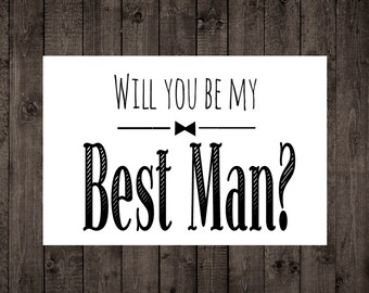Will you be my groomsman card bow tie bridal party black will you be my best man printable wedding card best man groomsman invitation junglespirit Image collections