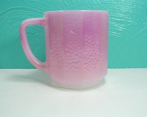 Vintage Iridescent Pink Federal Glass Serpentine Patterned Ribbed Mug, 8 oz. mug, Pink Coffee Mug