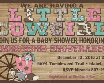 Print Your Own - Little Cowgirl Western Girl Baby Shower Invitation