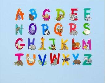 Vinyl Color ABC Decals, ABC Designs, ABC Wall Decals, Abc Nursery Decal, Alphabet Full Color Wall Decal