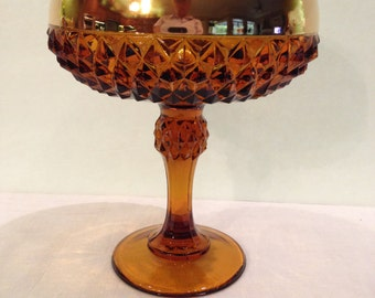 Indiana Pedestal Diamond Cut Candy Dish, Amber, Gold Collar, Compote, Ball Stem,