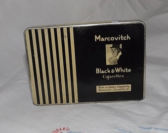 Vintage Tobacco Tin, Marcovitch Black & White Cigarettes, Advertising Tin, Cigarette Tin
