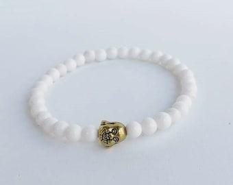Mans white bracelet - Bead Bracelet - Gemstone Bracelet - stretch bracelet - beadwork bracelet - buddha bracelet - gift for him - bohemian