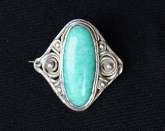 Vintage Sterling Silver Art Deco Style AMOZONITE CABOCHON BROOCH