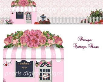 Etsy Cover banner and Shop Icon, Cottage Roses, Instant download, Blank Files, pink store front cottage, garden roses awning boutique