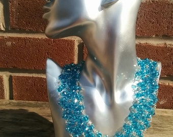 Blue or Green Crystals Bead Collar