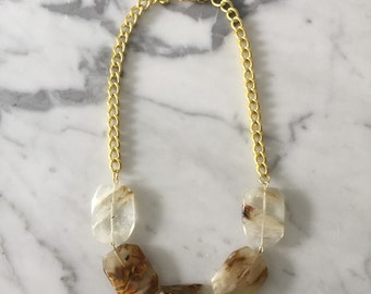 Tortoise and Gold Statement Necklace