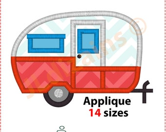Camper Applique Design. Camper embroidery design. Travel trailer applique design. Travel trailer embroidery design Machine embroidery design