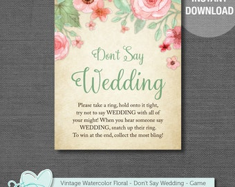 Don't Say Wedding, Wedding Game, Bridal Shower Game, Printable, Instant Download, Vintage Watercolor, Floral, Flowers, Ring Game, 004A