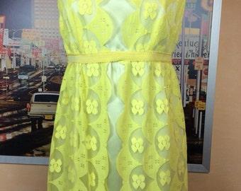 Adorable Vintage Yellow Lace Formal Long Dress Velvet bow belt zipper back closure Sunny Spring Yes!