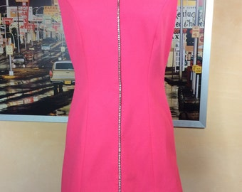 Hot Pink mini Dress 60's 70's go-go Fashion Mod Flirtly Fitted and Fun Rhinestones gives you just enough bling !