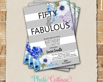 50th Birthday Invitation, Blue Invitation, Adult Birthday Invitations, Birthday Party Invitations, Glitter Invitations, 40th Invite, BP109
