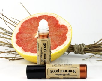 Grapefruit Essential Oil Aromatherapy Roller with Rosemary Oil, Good Morning, pink grapefruit perfume roller bottle, uplifting citrus scent