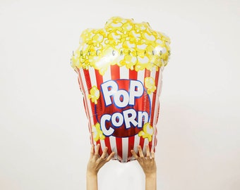 "38"" Popcorn Foil Balloon, Popcorn Balloon, Popcorn Party Decor, Junk Food Balloon, Movie Night Party, Carnival Inspired Party, Circus Party"