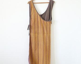 Vintage wrap dress / fringe dress / ethnic dress