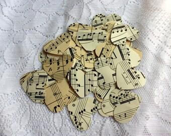 Set of 400 Music Paper Hearts - music Confetti - Music Hearts - Heart Table Scatters, Set of 400 Music die cuts  - heart embellishments