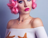 Frenchie pink wig, kanekalon, short, 40s style, fantasy